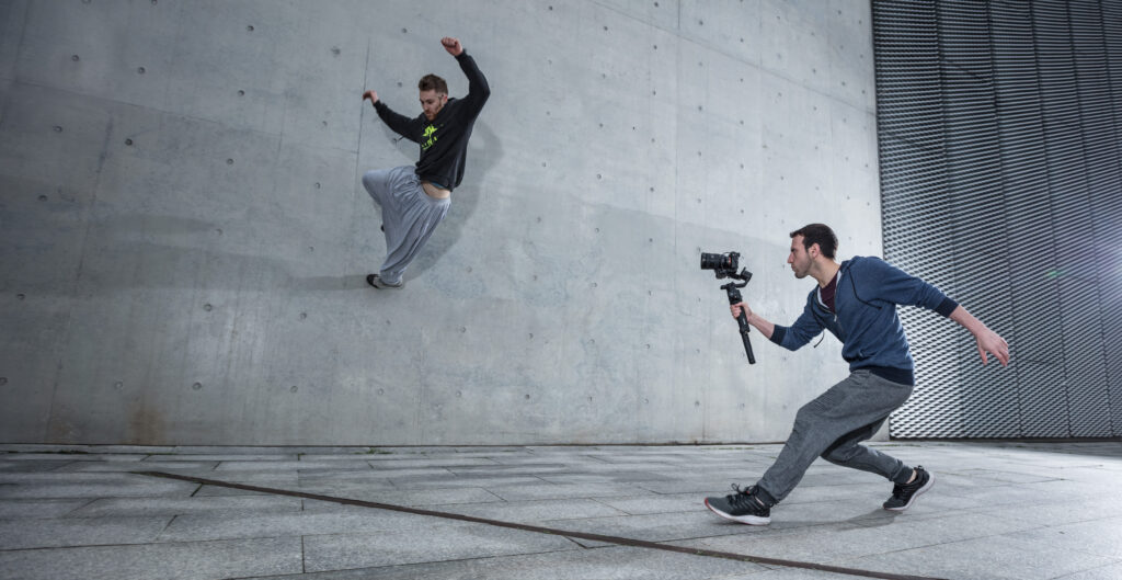 DJI Ronin S being used to film parcour or free running