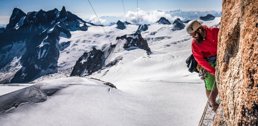 Climber above the Vallee Blanche
